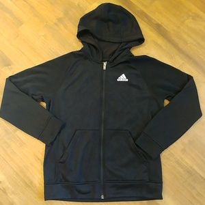 Boy's ADIDAS Zip Up Hoodie Fleece Lined sz L